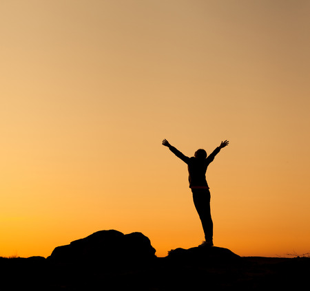 Silhouette of happy young woman with arms raised up against beautiful colorful sky. Summer Sunset. Landscape Stockfoto
