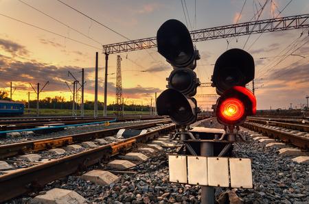 Cargo train platform at sunset. Railroad in Donetsk. Railway station Foto de archivo