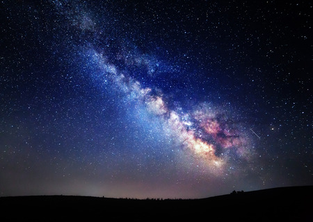 Milky Way. Beautiful summer night sky with stars in Crimea. 스톡 콘텐츠