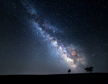Milky Way. Beautiful summer night sky with stars in Crimea. Stock Photo