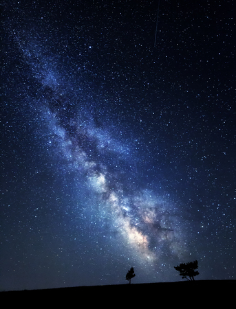 light trails: Milky Way. Beautiful summer night sky with stars in Crimea. Stock Photo