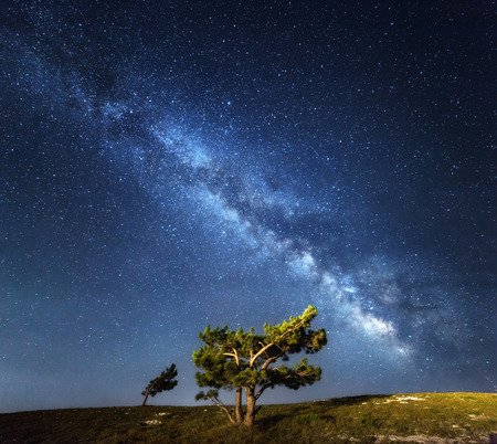 Milky Way. Beautiful summer night sky with stars in Crimea. Banco de Imagens