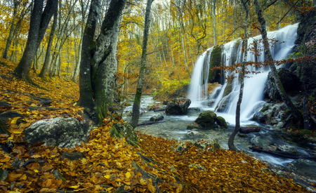 waterfall: Beautiful waterfall in autumn forest in crimean mountains at sunset. Silver Stream Waterfall in Grand Canyon Of Crimea.