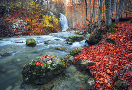 夕暮れ時のクリミア山脈で秋の森で美しい滝。クリミア自治共和国のグランド ・ キャニオンのシルバー ストリーム滝。