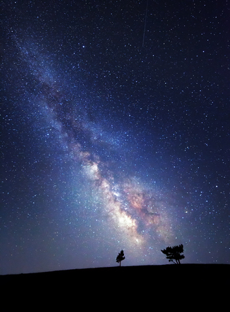 blue sky and fields: Milky Way. Beautiful summer night sky with stars. Background.