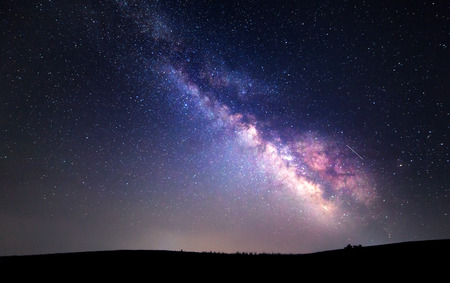 Milky Way. Beautiful summer night sky with stars. Background.