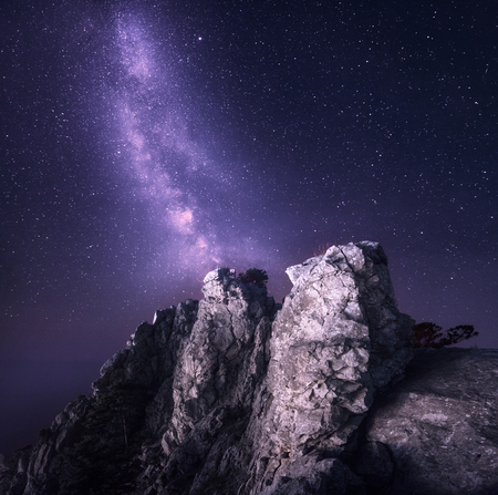 Beautiful night landscape with rocks and starry sky on the background of purple Milky Way, Magic Universe, mountains. 免版税图像