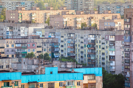 Old buildings in Ukraine. Crowded old housing Stock Photo