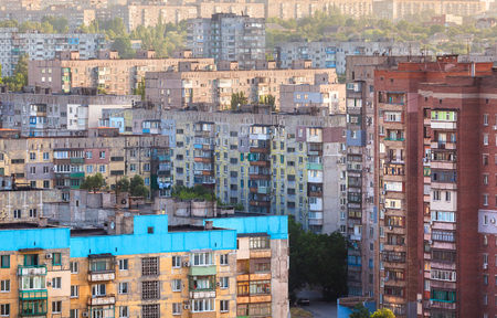 crowded: Old buildings in Ukraine. Crowded old housing Stock Photo