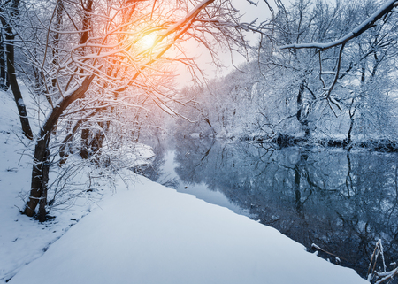 frozen lake: Winter forest on the river at sunset. Colorful landscape with snowy trees, frozen river with reflection in water. Seasonal. Winter trees, lake, sun and blue sky. Beautiful snowy winter in countryside Stock Photo