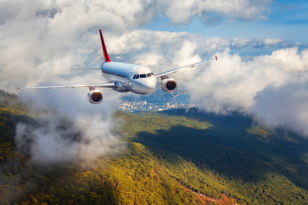 Airplane is flying in clouds over mountains with forest at sunset. Landscape with white passenger airplane, cloudy sky and green trees. Passenger aircraft is landing. Business travel. Commercial plane 版權商用圖片