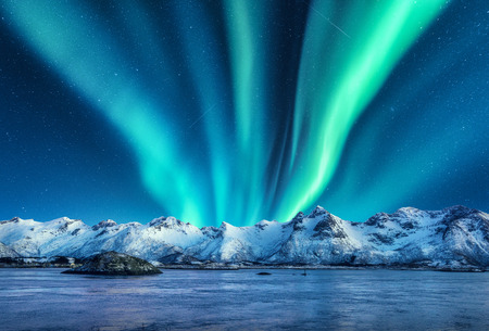 Aurora borealis above the snow covered mountains in Lofoten islands, Norway. Northern lights in winter. Night landscape with polar lights, snowy rocks, reflection in the sea. Starry sky with aurora 免版税图像