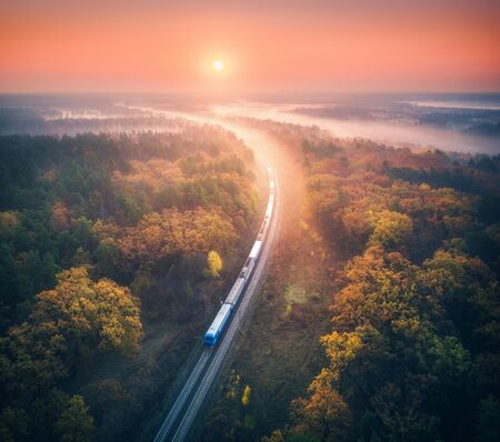 Train in beautiful forest in fog at sunrise in autumn. Aerial view of commuter train in fall. Colorful landscape with railroad, foggy trees, orange leaves, red sky and mist. Top view. Railway station Reklamní fotografie