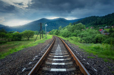Rural railroad in mountains in overcast day in summer. Old railway station in village at sunset. Industrial landscape with railway platform, green trees and grass, dramatic cloudy sky, buildings