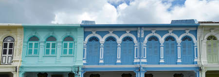 Multicolor facades with Sino-Portuguese architecture in Phuket Town, Thailand