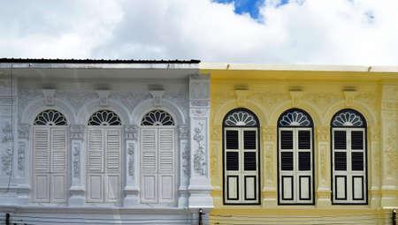 Multicolor facades with Sino-Portuguese architecture in Phuket Town, Thailand Banco de Imagens