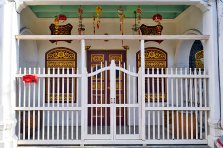 Gate of a Sino-Portuguese house in Phuket Town, Thailand Banque d'images
