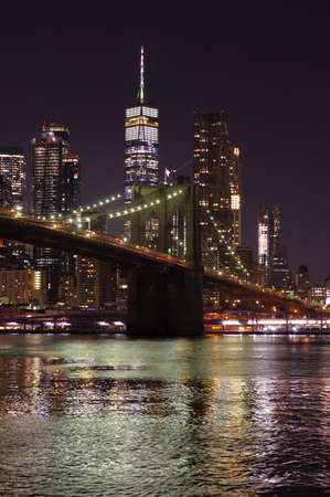 Night Brooklyn Bridge New York Banco de Imagens - 157559440