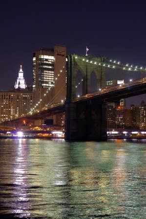 Night Brooklyn Bridge New York Banco de Imagens - 157559293