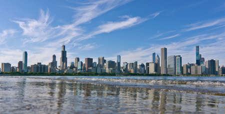 Chicago Skyline Panorama Across Lake Michigan