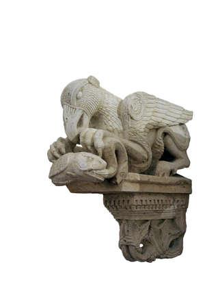 isolated medieval fabulous bird sculpture Stock Photo