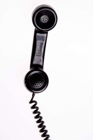 receiver: old fashion black and scratch 50s phone Stock Photo