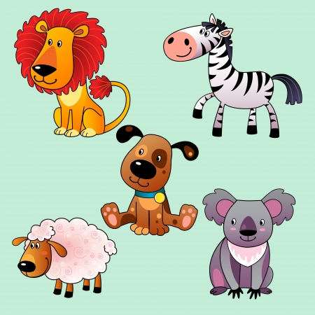 Set of cartoon animals: koala, dog, lion, sheep, zebra. Vector