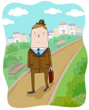The businessman walking on the city landscape Illustration