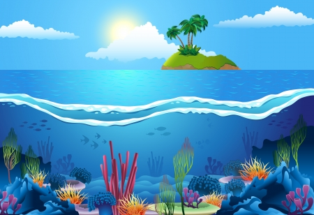 cartoon: Sea landscape, with island and coral in deep water.