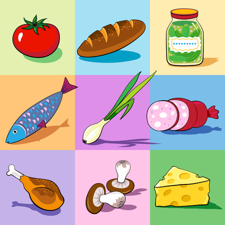 Set of food icons on the colorful backgrounds. Vector.