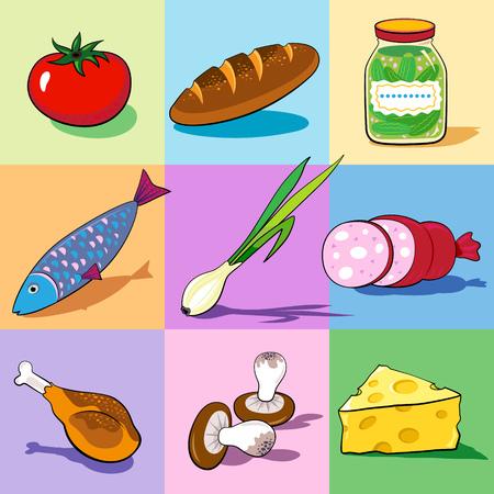 Set van voedsel pictogrammen op de kleurrijke achtergronden. Vector.