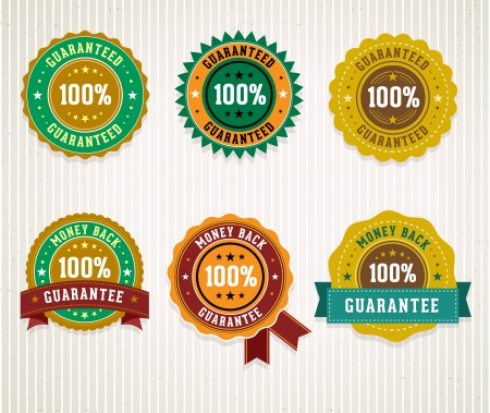 Set of retro badges. Money back guarantee and 100% guaranteed labels. Vector. Vector