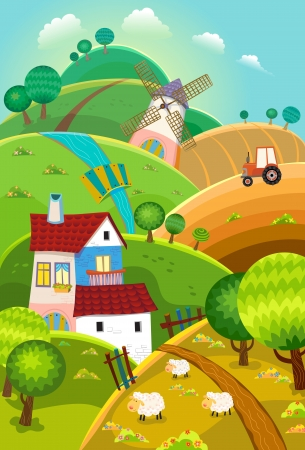 cartoon tractor: Rural landscape with hills, house, mill and tractor