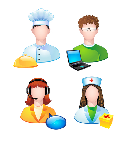 Set of icons with people profession. Vector. Vector