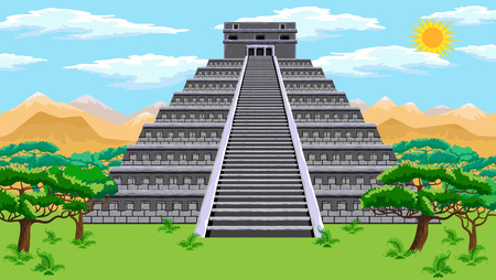 Natural landscape with the ancient aztec pyramid Иллюстрация