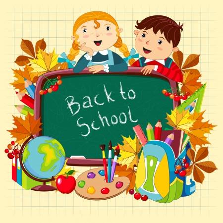 Terug naar school. Vector illustratie met kinderen en schoolbenodigdheden.
