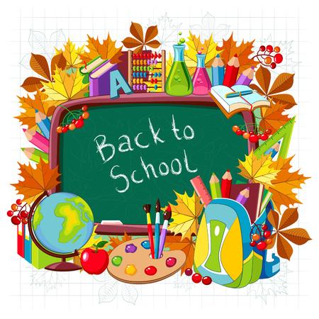 Terug naar school. Vector illustratie met schoolspullen op een witte achtergrond. Stock Illustratie