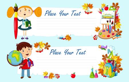 Terug naar school. Twee vector illustratie met kinderen en schoolbenodigdheden.