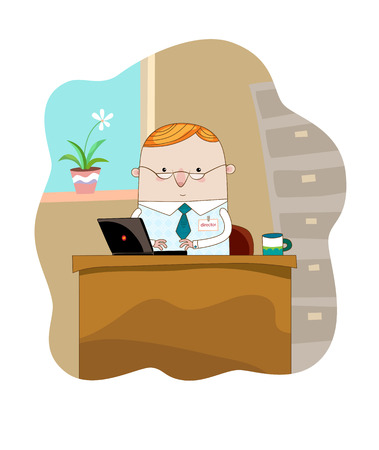 The Businessman with the laptop working in the office. Vector.