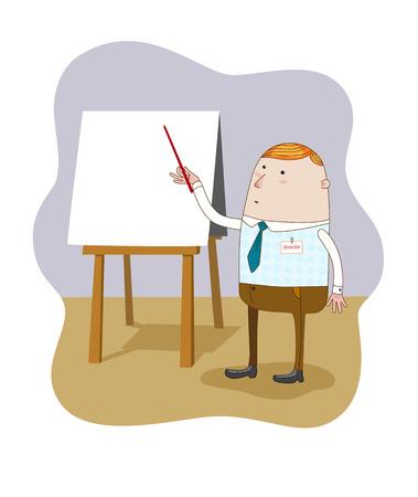 空白のフリップ チャートでビジネスマン立っているポインティング。ベクトル。  イラスト・ベクター素材