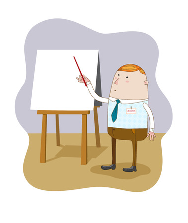 The Businessman standing pointing at blank flip chart. Vector.