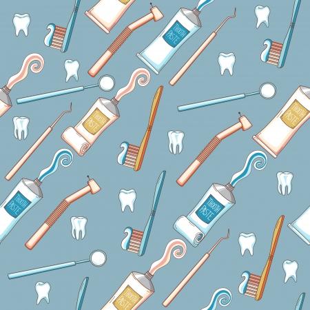 歯磨き粉、歯ブラシと歯科用ツールとのシームレスな漫画背景  イラスト・ベクター素材