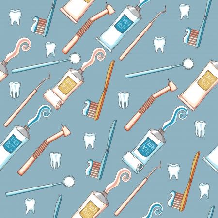 Seamless cartoon background with toothpaste, toothbrush and dental tools