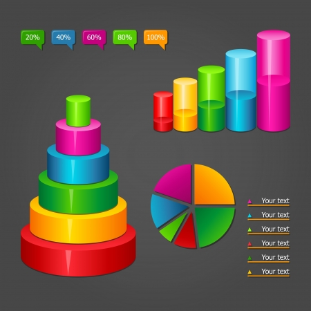 Set of colorful glossy vector diagrams icons for your business presentations.  Illustration