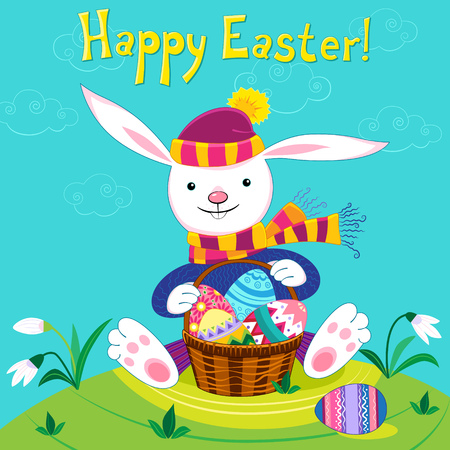 Easter Bunny with a basket and Easter eggs. Vector. Vector