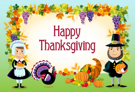 Vector illustration of happy thanksgiving day background.  Vector
