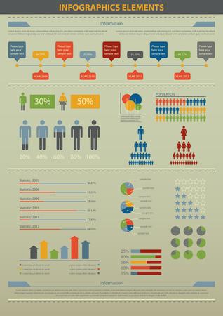 demographic: Illustrazione vettoriale di elementi infografica e statistiche su demografica. Vettoriali