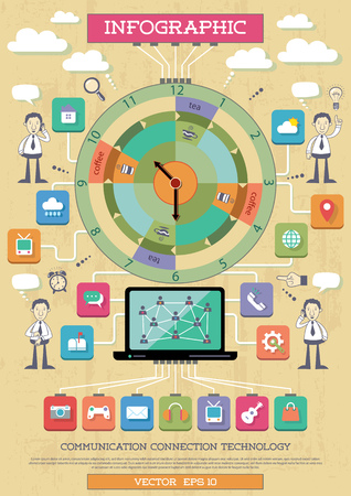 Vector illustration of infographic element about internet, communication and connection technologies. Vector
