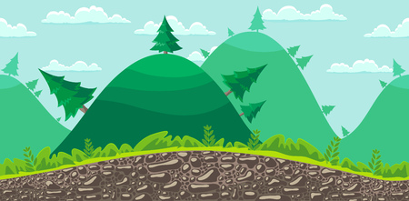 Seamless landscape, cartoon forest background. Vector. Stock Vector - 22960904