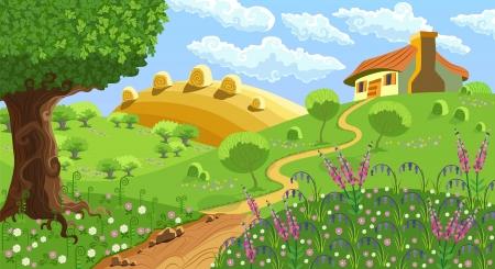 campagna: Paesaggio rurale con colline, casa, giardino e fieno